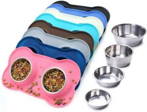 Vivaglory Dog Bowls Stainless Steel Water and Food Feeder with Non Spill Mat