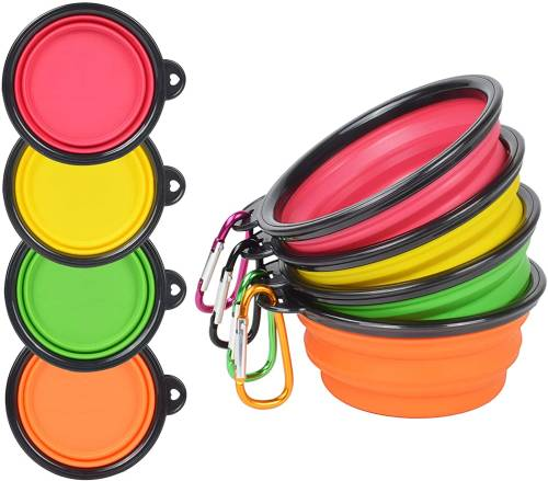 PetBonus 4-Pack Silicone Collapsible Dog Bowls